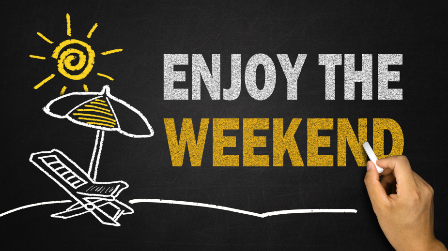 enjoy the weekend concept on blackboard
