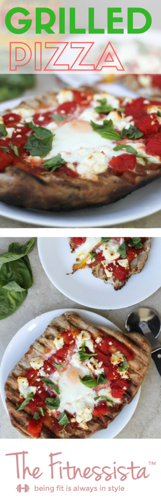Grilled pizza is perfect for hot summers when you don't want to use the oven! Fresh ingredients and topped with an egg make it best! fitnessista.com