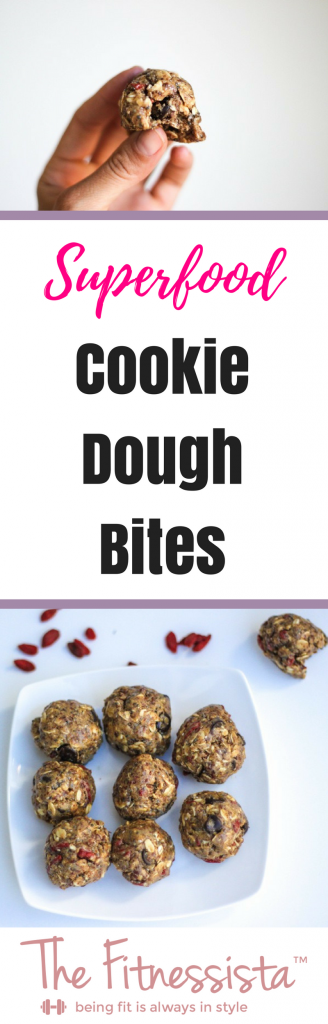 This superfood cookie dough will not only satisfy your sweet tooth, but it also makes a fantastic pre-workout treat with an awesome combination of smart carbs, healthy fats and protein. | fitnessista.com | #superfoodsnack #superfoodcookiedough #ediblecookiedough #snackbites