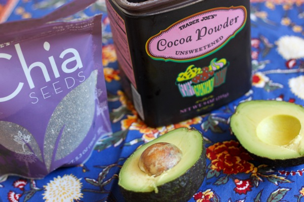 Ingredients for chocolate avocado chia pudding