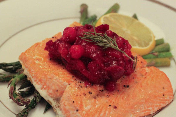 Rosemary salmon with cranberry bourbon sauce  1 of 1 2
