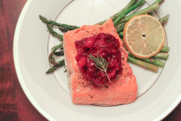 Rosemary salmon with cranberry bourbon sauce  1 of 1