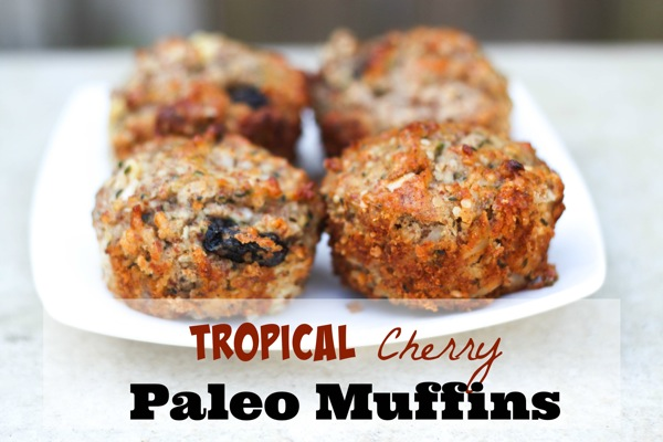 Tropical cherry paleo muffins are full of bright fruity flavor! Packed with healthy fats and fiber, they're perfect for breakfast or snack. fitnessista.com