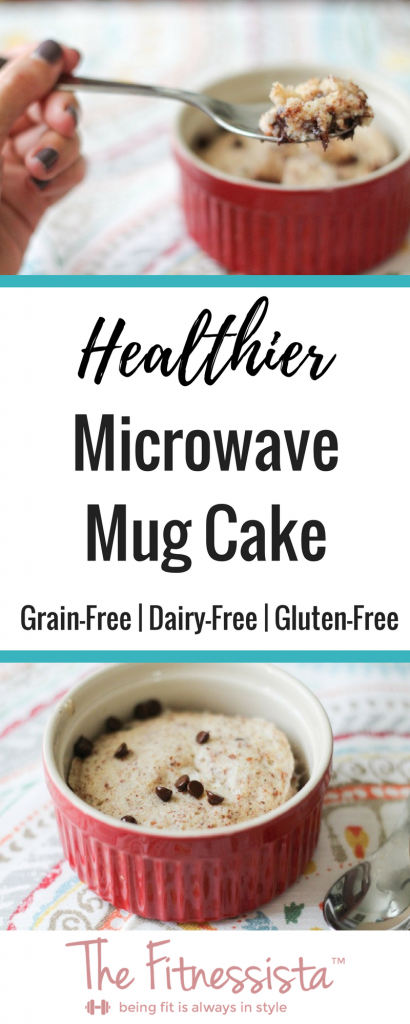 Here's a healthier mug cake for when that sweet tooth kicks in. This grain-free, dairy-free mug cake for one is perfectly soft, chocolatey and delicious! | fitnessista.com | #microwavemugcake #healthiermugcake #grainfreemugcake #dairyfreemugcake #glutenfreemugcake #glutenfreerecipes #glutenfreedessert