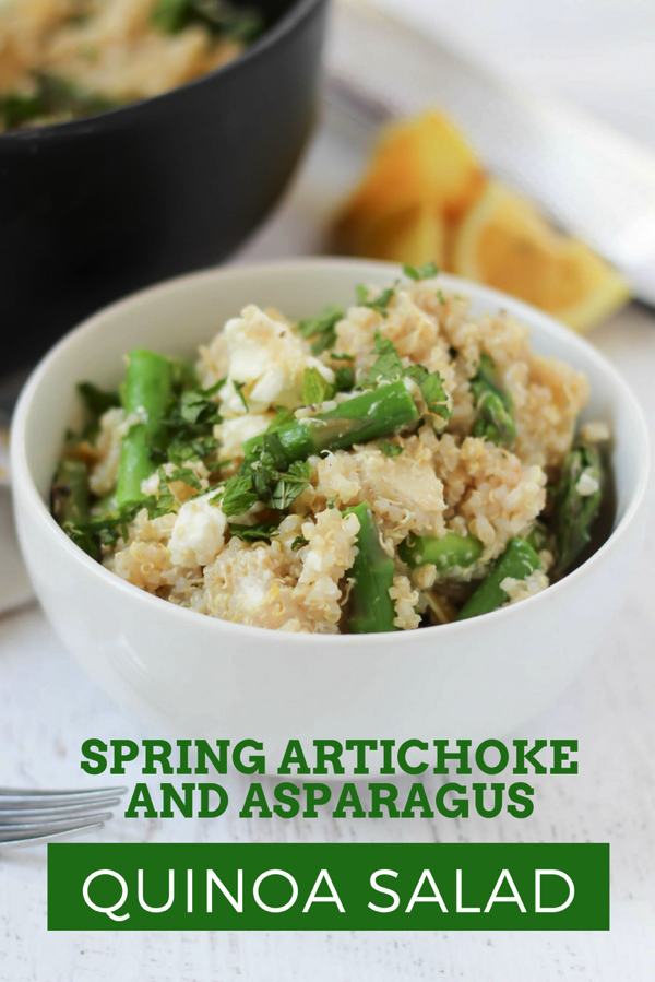 This spring quinoa salad is satisfying and filling, with bright flavors from the lemon zest. You'll also get a dose of veggies from the artichokes and asparagus. Make it vegan by omitting the feta. | fitnessista.com | #quinoasalad #asparagusrecipe #artichokerecipe #springsaladrecipe #saladrecipe