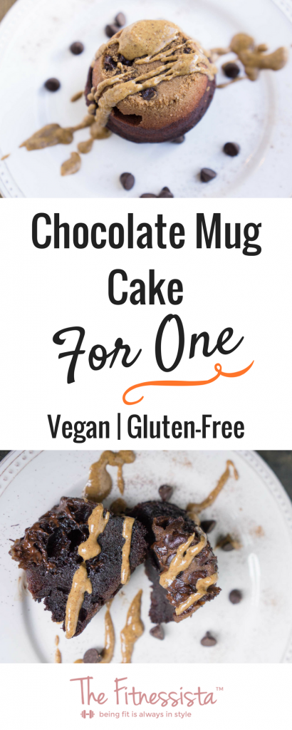 Vegan, gluten-free chocolate mug cake is not only fudgey and delicious, but it also packs a protein punch. Best of all, it microwaves in 2-minutes for a quick, healthier treat. | fitnessista.com | #glutenfreedessert #glutenfreerecipe #veganmugcake #microwavemugcake #glutenfreemugcake #chocolatemugcake