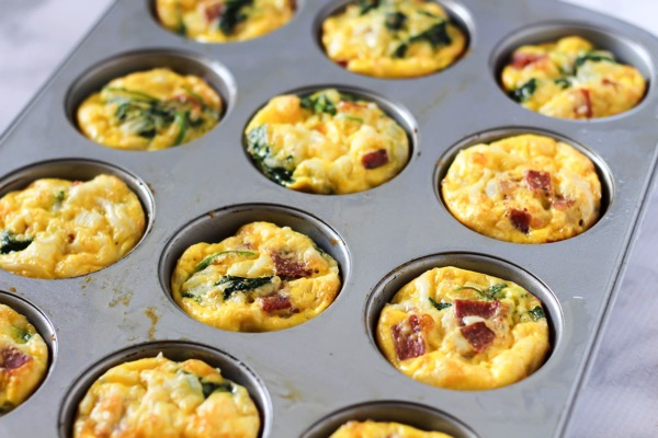 Turkey bacon kale and cheese egg muffins 3