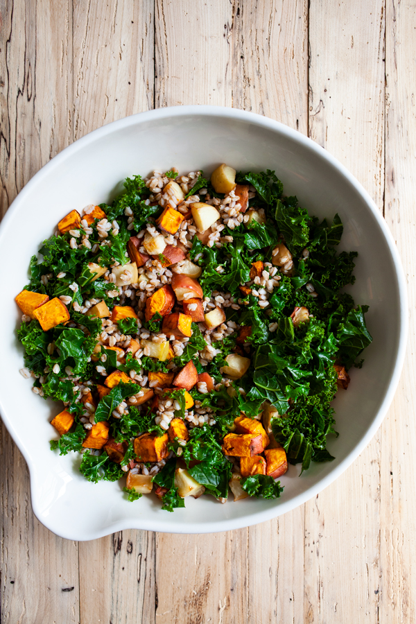Farro Breakfast Salad with Sweet Potatoes & Apples | The Full Helping