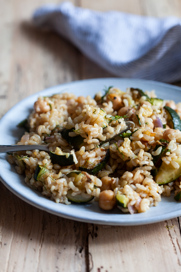 Lemon Dill Zucchini & Chickpea Rice | The Full Helping