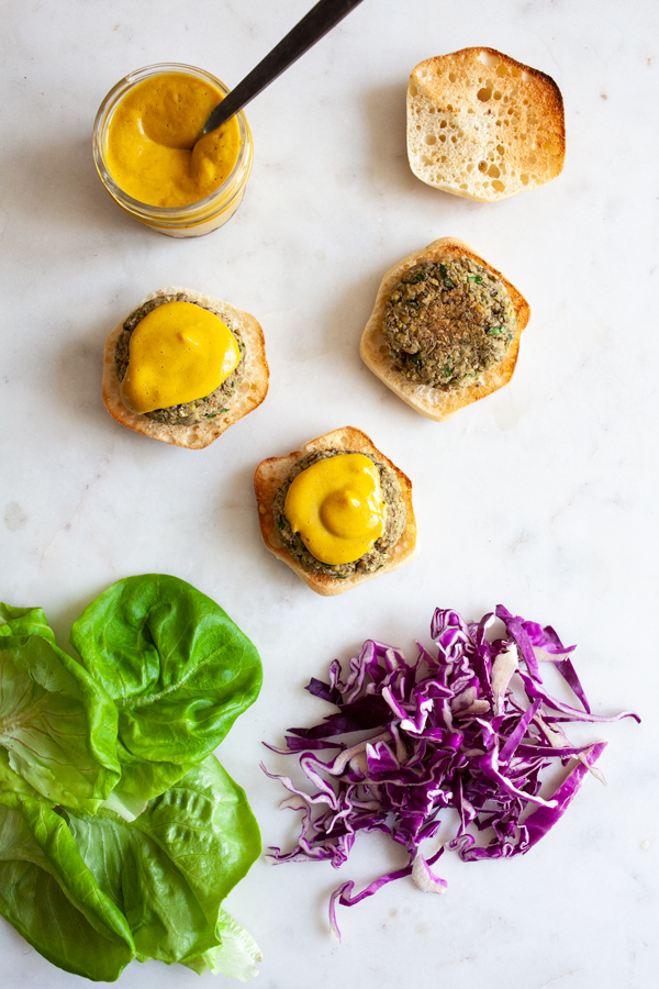 Green Lentil Hemp Seed Sliders with Spicy Dijon Date Mustard | The Full Helping