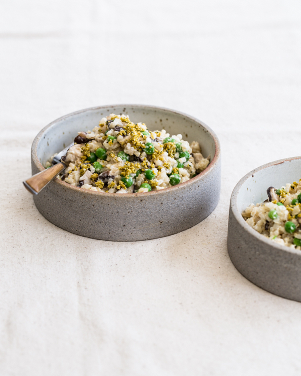 Creamy Brown Rice with Shiitakes & Peas | The Full Helping