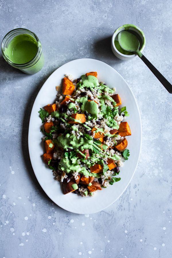 Coconut Brown Rice, Black Beans, & Sweet Potato with Cashew Cilantro Lime Sauce | The Full Helping