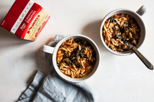 Tomato Orzo Soup with Kale | The Full Helping